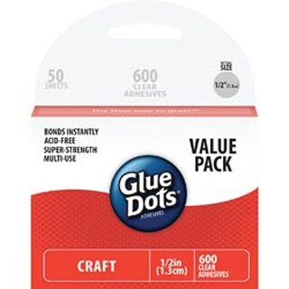 """600 Clear Dots - Glue Dots .5"""" Craft Dot Sheets Value Pack"""