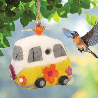 Dzi Wild Woolies Handcrafted Felted Sheep's Wool Vw Magic Bus Birdhouse