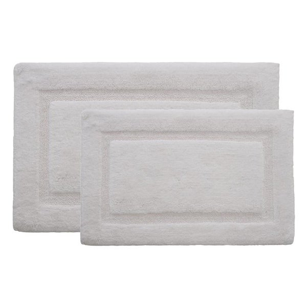 Alessi Border Ringspun Cotton White 20 in. x 32 in. 2-Piece Bath Rug Set. Opens flyout.