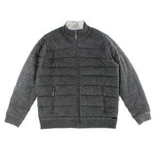 Tasso Elba NEW Gray Mens Large L Puffer Quilted Knit Sweater Jacket
