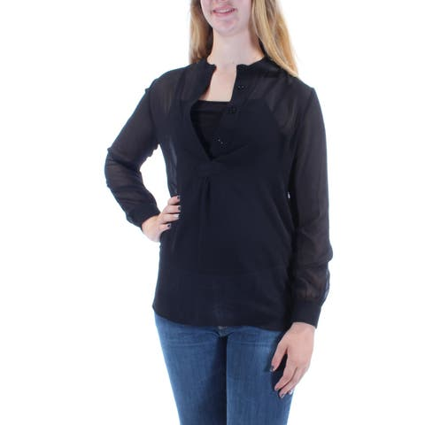 7968fe482a01a ANNE KLEIN Womens Black Long Sleeve V Neck Top Size  M