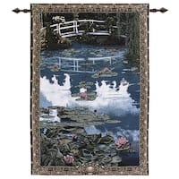 """Water Lilies on Garden Pond with Bridge Cotton Tapestry Wall Hanging 56"""" x 38"""" - Blue"""