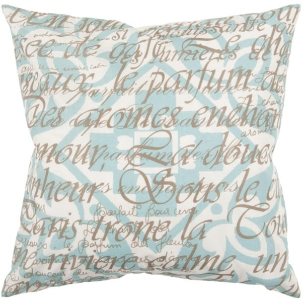 "22"" Sea Blue and Raw Umber Pattern with French Text Decorative Throw Pillow"