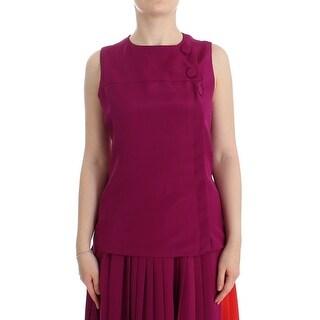 Barbara Casasola Barbara Casasola Purple Silk Sleeveless Blouse Top - it42-s