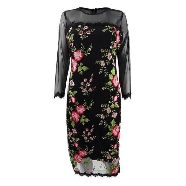 b8b7638342480 Jax Floral-Embroidered Mesh Dress (10, Black) - Black - 10