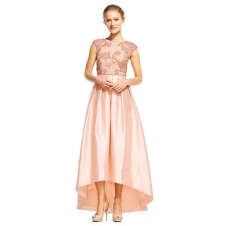 Adrianna Papell High Low Taffeta Ball Gown with Floral Beading