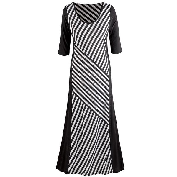 Women's Maxi Dress: Diagonal Stripes Scoop Neck 3/4 Sleeve- Black/White