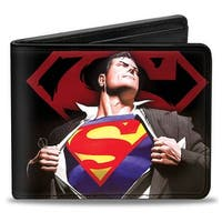 Superman Forever Clark Kent Superman Transition Shield Black Red Bi Fold Bi-Fold Wallet - One Size Fits most