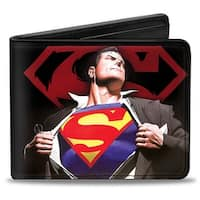 Superman Forever Clark Kent Superman Transition Shield Black Red Bi Fold Bi-Fold Wallet One Size - One Size Fits most