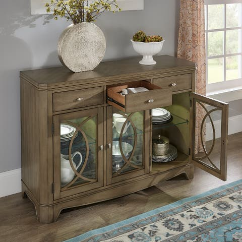 Fiona Antique Taupe LED Touch Light Buffet Server by iNSPIRE Q Classic