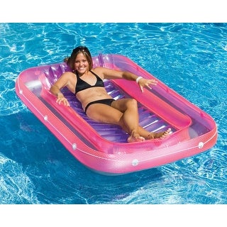 "71"" Water Sports Transparent Pink, Purple and Gray Inflatable Suntan Tub Swimming Pool Raft Lounger"