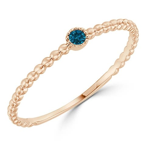 Auriya 10k Gold 0.03ctw Ultra-thin Beaded Stackable Blue Diamond Accent Ring