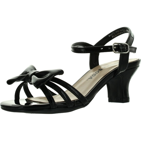 Soda Girls Girly-Ii Metallic Glitter Open Toe Bow Slingback Small Block Heel Sandals
