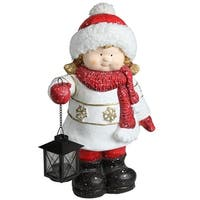 "16.50"" Christmas Morning Girl Holding Tealight Lantern Christmas Tabletop Figure - Red"