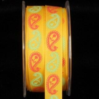 "Sunshine Yellow ""Inga's Paisley"" Grosgrain Craft Ribbon 16mm x 27 Yards"