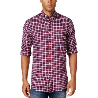 John Ashford Mens Button-Down Shirt Flannel Checkered
