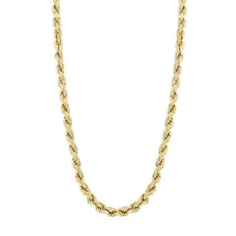Mcs Jewelry Inc 10 KARAT YELLOW GOLD HOLLOW ROPE CHAIN NECKLACE 2.5MM