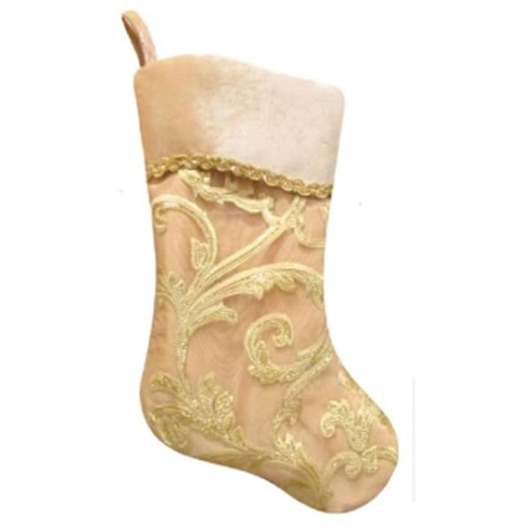 "20.5"" Gold Glittered Leaf Flourish Organza Christmas Stocking with Shadow Velveteen Cuff"