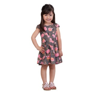 Pulla Bulla Toddler Girl Floral Style Pleated Dress (Option: black / 2t)