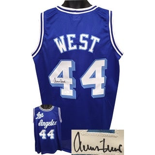 Jerry West signed Blue TB Custom Stitched Basketball Jersey XL- JSA Hologram