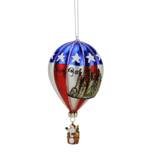 "5.75"" Red, Blue and Silver ""New York"" Glass Hot Air Balloon Christmas Ornament"