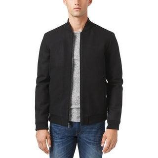 Calvin Klein Mens Wool Blend Baseball Bomber Jacket Black Medium M