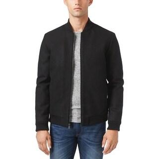 Calvin Klein Wool Blend Baseball Bomber Jacket Black Solid Large L