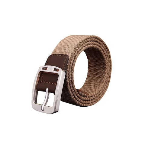 "Men Adjustable 9 Holes Metal Pin Buckle Canvas Belt Width 1 3/8"""" Khaki Striped"