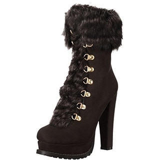 Luichiny Womens Stand By Booties Faux Suede Faux Fur