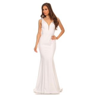 Deep V-Neck Low Back Stretch Satin Gown (More options available)
