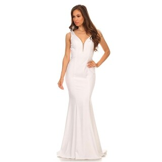 Deep V-Neck Low Back Stretch Satin Gown