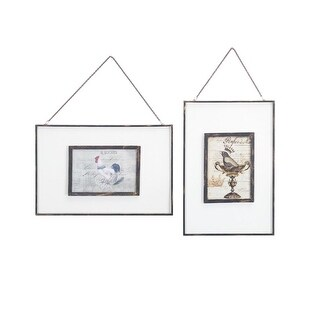 """Pack of 8 Decorative Hanging Picture Glass Frames with Chain 16.25"""""""