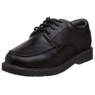 School Issue Boys Graduate Solid Leather Round-Toe Shoes