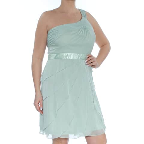 ADRIANNA PAPELL Womens Green Ruffled Sleeveless Asymetrical Neckline Above The Knee Fit + Flare Party Dress Size: 12