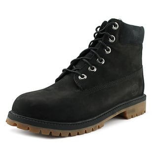 "Timberland 6"" Premium Boot Youth Round Toe Leather Black Boot