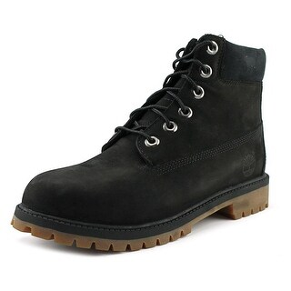 "Timberland 6"" Premium Boot Youth Round Toe Leather Black Boot"