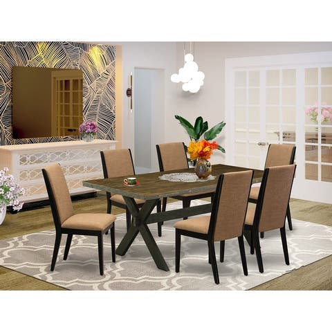 X677LA147-5 5-Piece Stylish Dining Table Set an Distressed Jacobean Table and 4 Linen Fabric Dining Chairs
