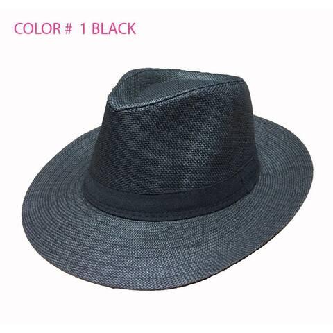 Unisex Summer Panama Straw Fedora Hat Short Brim Beach Sun
