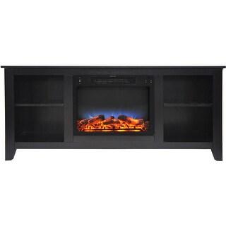 Cambridge Santa Monica 63 In. Electric Fireplace & Entertainment Stand in Black Coffee w/ Multi-Colo