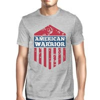 American Warrior Tee Mens Grey Cotton Tshirt American Flag Shirt