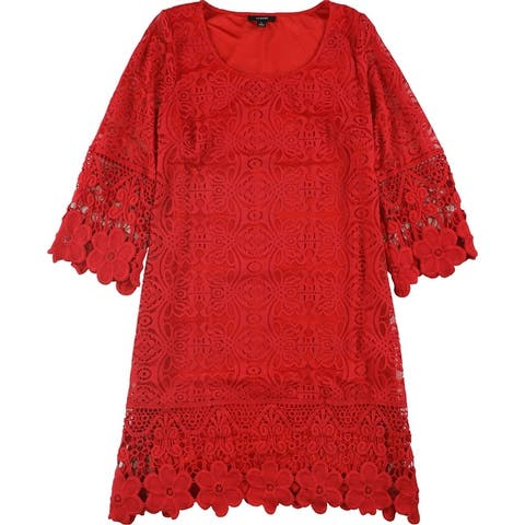 Alfani Womens Crochet-Trim A-Line Dress