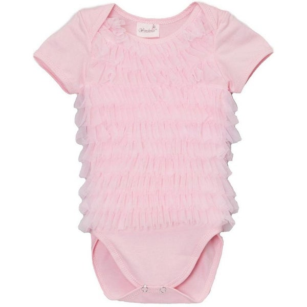 Wenchoice Baby Girls Pink Chiffon Ruffles Short Sleeve Bodysuit