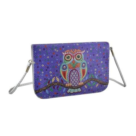 Colorful Retro Owl Purple and Silver Handbag w/Removable Strap