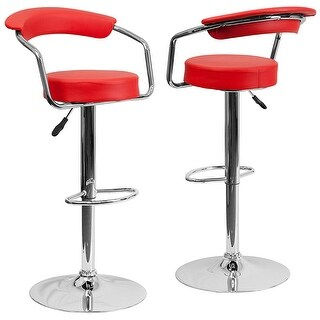 Belleze Faux Leather Set of 2 Barstools Low-back Armrest Air Lift Adjustable Swivel Stools, Red