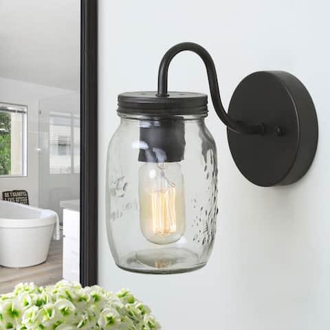 "Outdoor Mason Jar Wall Sconce Black Wall Latern Lighting - W4.75"" x E7"" x H8.75"""