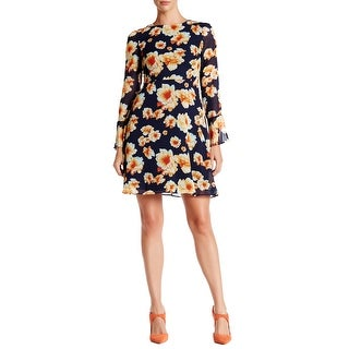 Betsey Johnson Floral Printed Chiffon Dress with Tie Back
