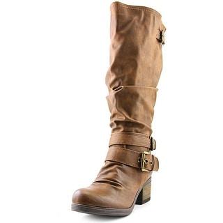 Carlos by Carlos Santana Claudia Women Round Toe Synthetic Tan Knee High Boot