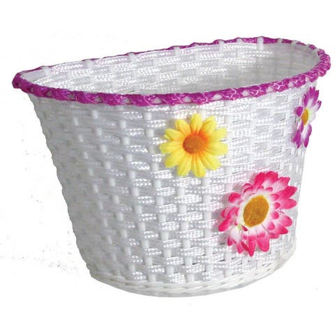 Action plastic deluxe large white w/flowers basket bs0088