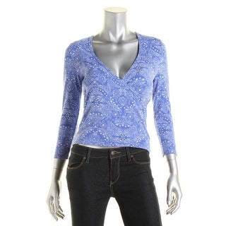 Energie Womens Paisley Elbow Sleeves Pullover Top - L