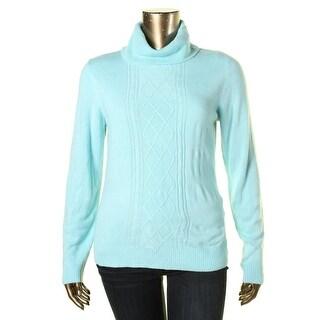 Karen Scott Womens Cable Knit Long Sleeves Turtleneck Sweater